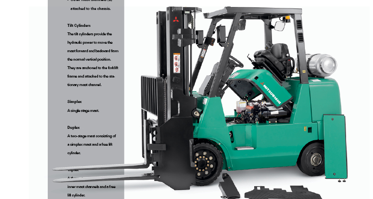 man riding forklift