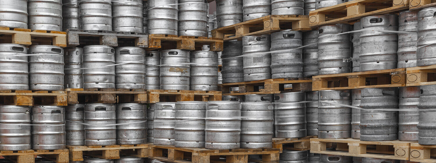 Steel Barrels Bound Together and Stacked on Pallets