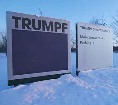 trumpf smart factory sign in the snow