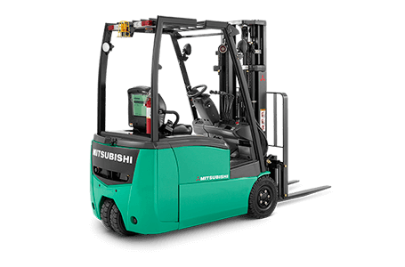 Back right view of a Mitsubishi forklift truck