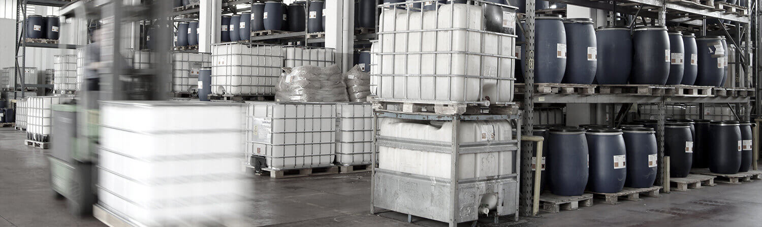 Background image of warehouse shelves with materials
