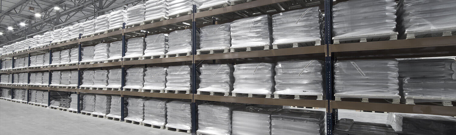 Background image of bags on warehouse shelves