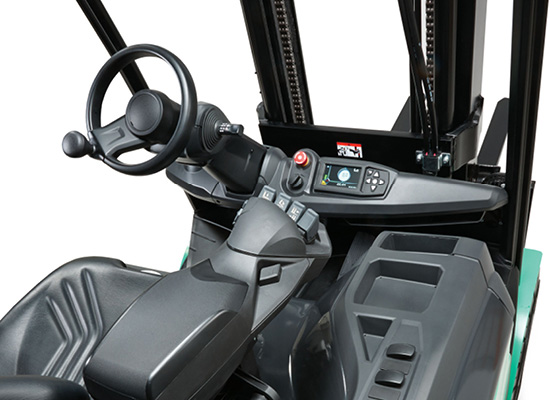 View of Fingertip Controls and Operator Compartment of a FB25N Forklift