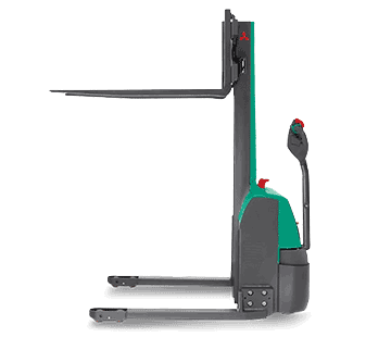 Side view of Mitsubishi light-duty walkie stacker