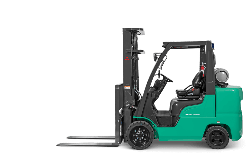 Side view of Mitsubishi IC cushion tire forklift