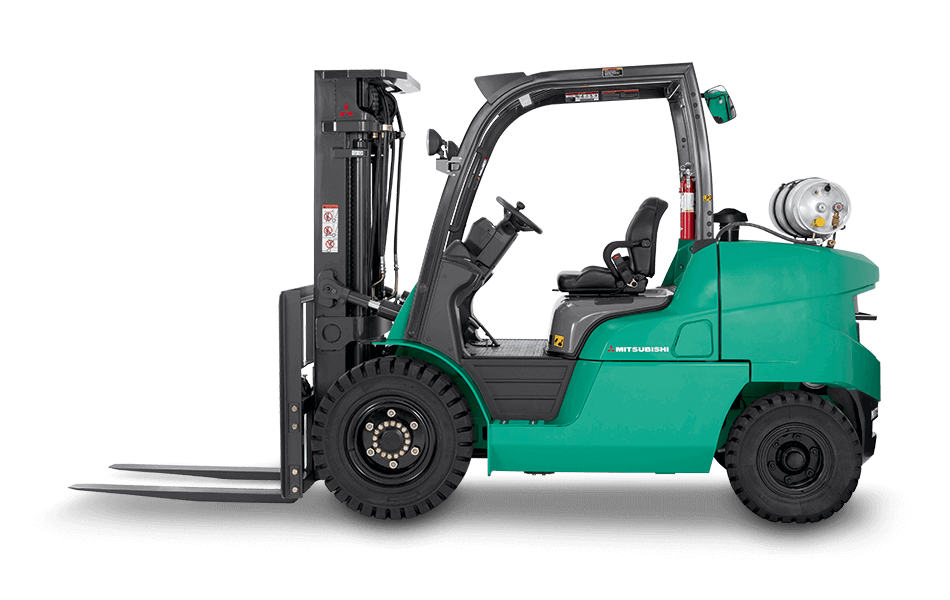 Side view of Mitsubishi IC pneumatic tire forklift