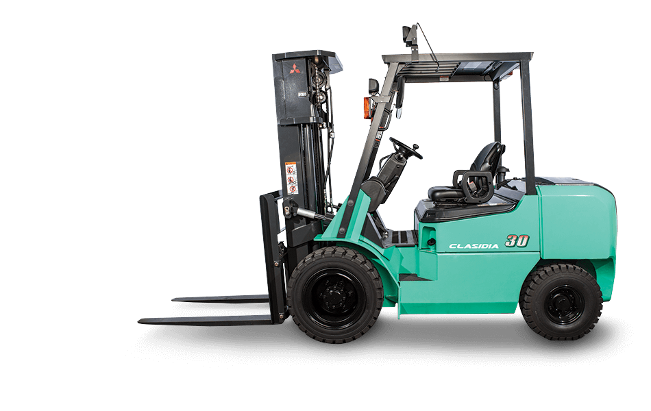Side view of Mitsubishi pneumatic lift truck