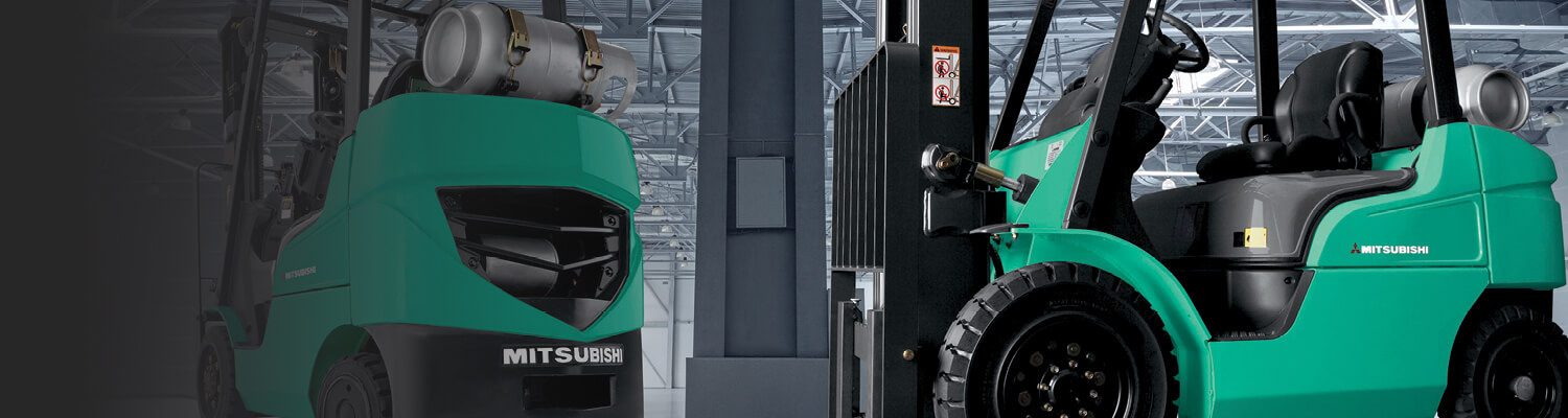 banner image of two Mitsubishi internal combustion forklifts