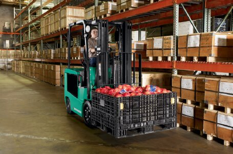 Forklift operator carrying food items